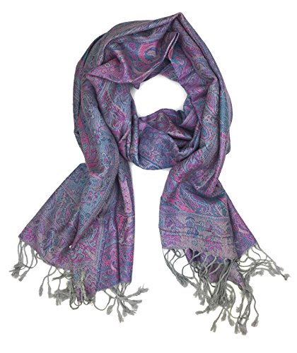 Plum Feathers Tapestry Ethnic Paisley Pattern Pashmina Scarf (Grey-Purple Tapestry)