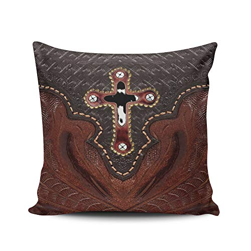 Fanaing Brown Western Leather Cross Fancy Trim Print Pillowcase Home Sofa Decorative 16x16 Inch Square Throw Pillow Case Decor Cushion Covers Double-Sided Printed