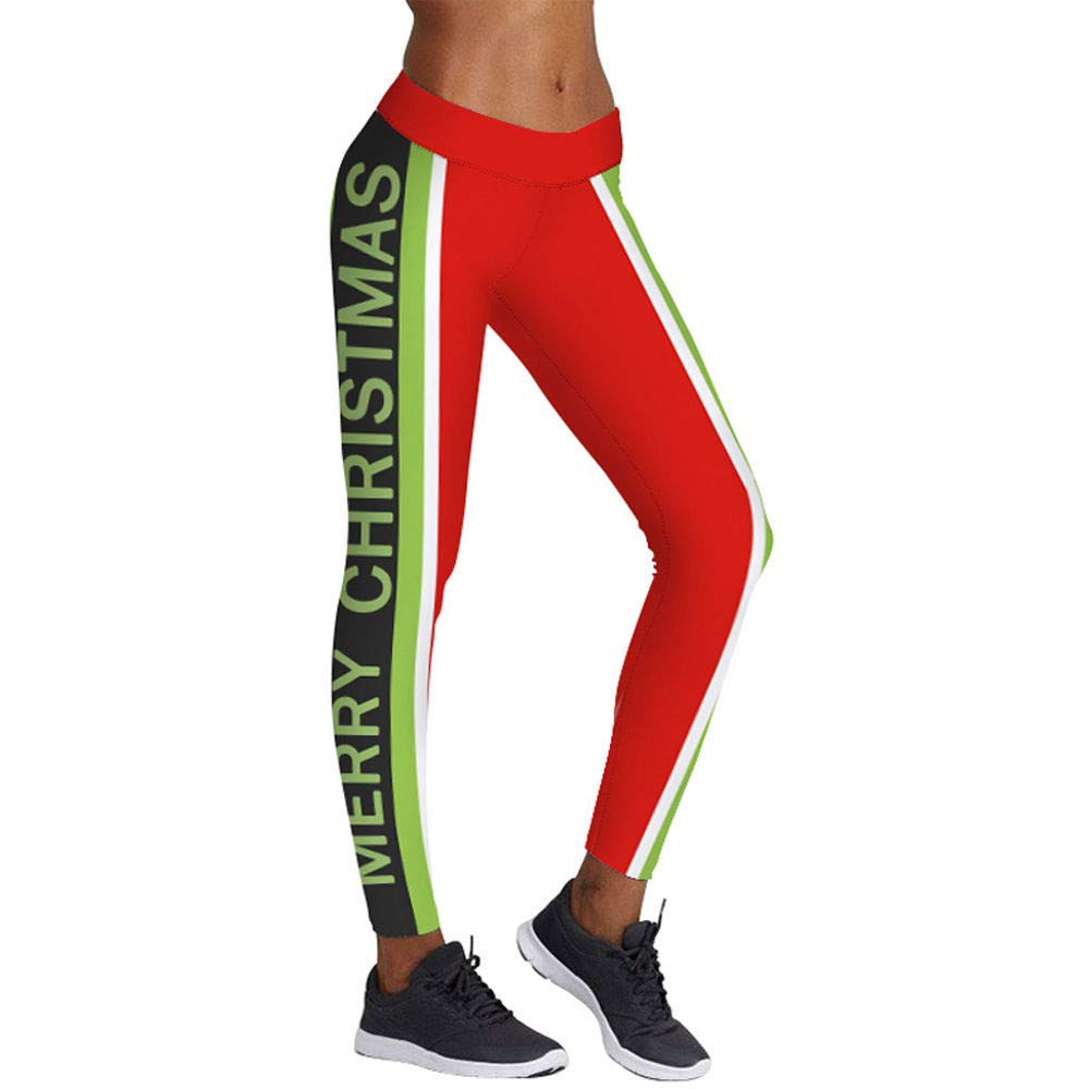 a2f00fd5d Amazon.com   Franterd Merry Chritsmas Womens Christmas Ugly Tight-Fitting  Yoga Pants Sports Gym Workout Running LeggingsTrouser   Sports   Outdoors
