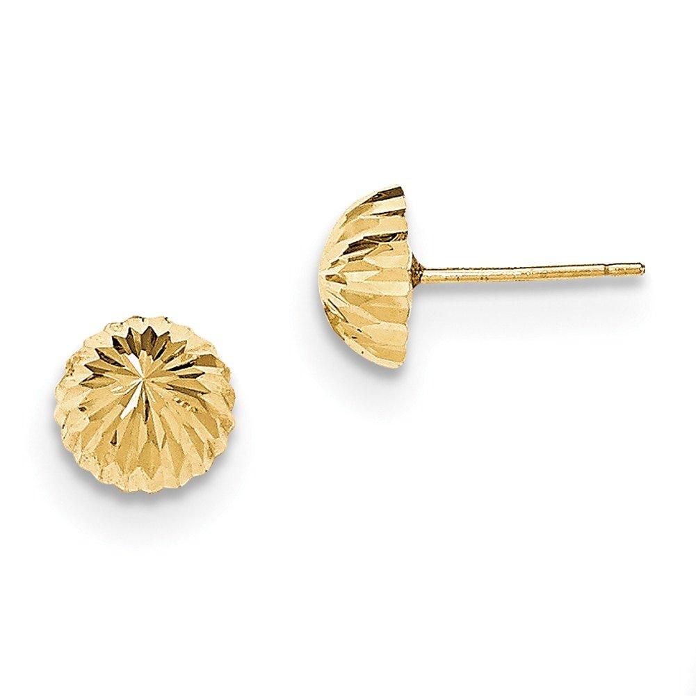 Lex /& Lu 14k Yellow Gold D//C 8mm Domed Post Earrings