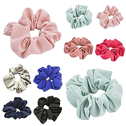LIGONG 8 Pack Colorful Bobbles Elastic Hair Bands Floral Fabric Hair Ties Chiffon Hair Scrunchies