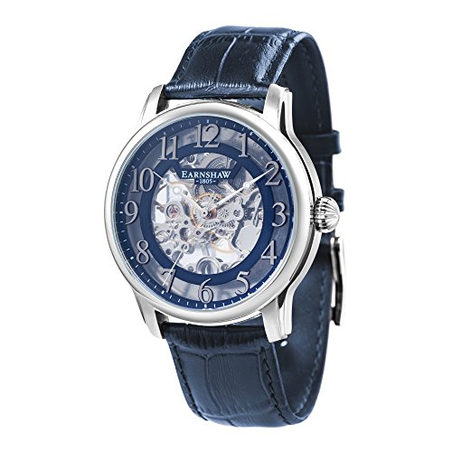 Thomas Earnshaw Men's 'LONGITUDE' Mechanical Hand Wind Stainless Steel and Leather Casual Watch, Color:Blue (Model: ES-8062-05)