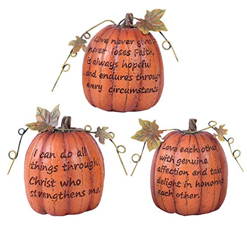Holiday Designs Inspirational Fall Small Pumpkin Trio - Set of 3 - Thanksgiving Decoration or Table Centerpiece Decor