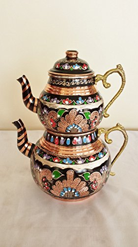 Handmade Turkish Copper Ottoman Inlaid Antique Stylish Teapot Kettle Tea Samovar