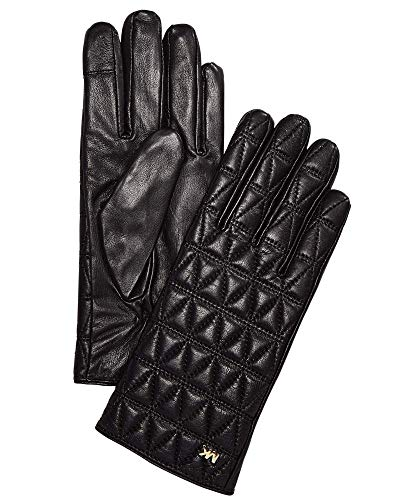 MICHAEL Michael Kors Women's Quilted Leather Gloves Black/Gold (Medium) (Gloves Leather Quilted Black)