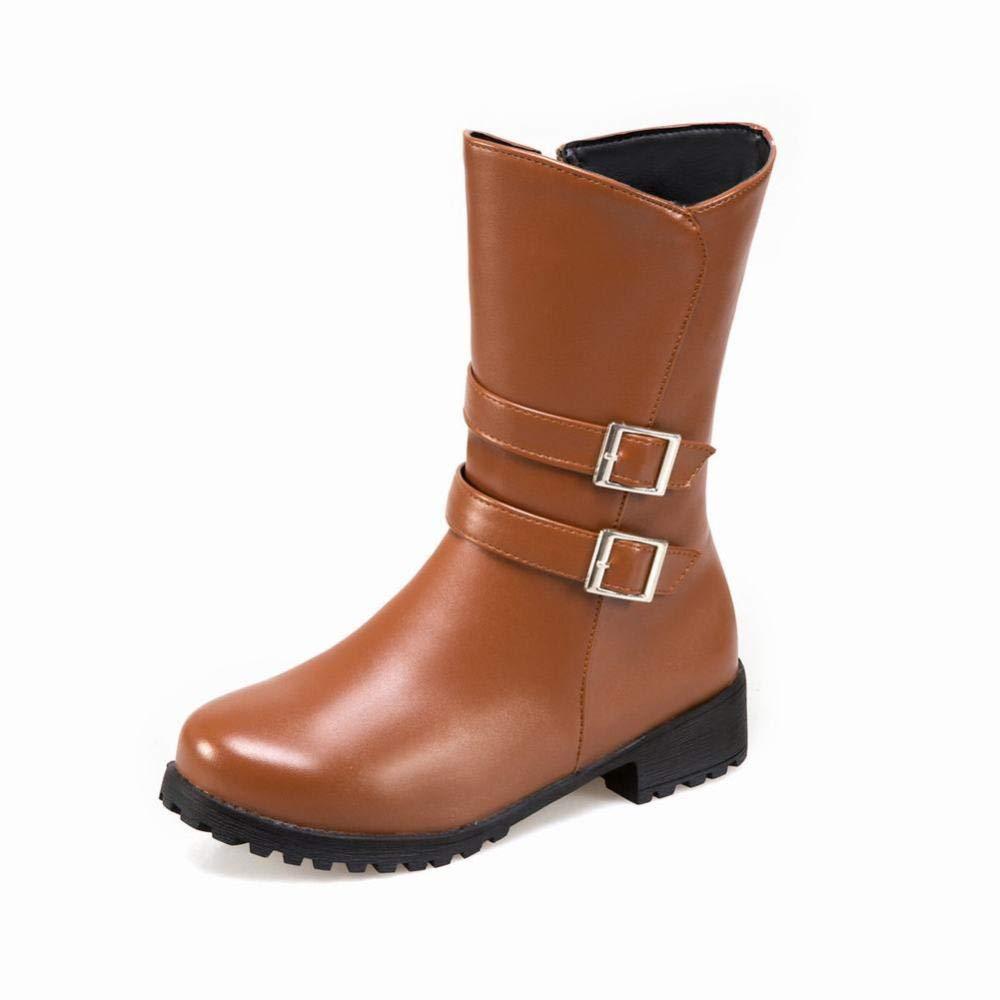 IG Damen Stiefel Stiefel Stiefel - Trend Niedrige Ferse Stiefel Gürtelschnalle   Winter Warme Stiefel Große Damen Stiefel   34-43 Braun 35 1c1322
