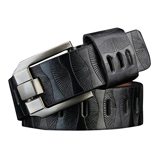 - Zlolia Men's Handmade Genuine Leather Dress Belt, Ratchet Single Prong Buckle Leather Loop End Tip Buckle (Black)