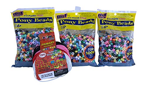 Pony Bead Lacing Cord Variety Pack, 60-Feet, Primary Colors + Multicolor Plastic Beads -3 Pack- 9mm Opaque 1,000 Count Each ()