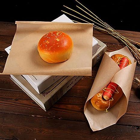 7,28 x 7,28 pulgadas 200 hojas papel de estraza hamburguesas alimentos Wrapping papeles resistente a la grasa s/ándwich hamburguesa Wrap evita manchas de alimentos papel de regalo,18,5 x 18,5 cm