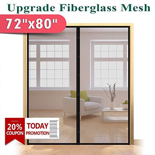 Upgraded 72 x 80-Inch Magnetic Screen Door for French Door, Durable Fiberglass Double Door Screen Mesh Curtain Fits Door Opening Up to 70 x 79-Inch, Keep Bugs Out (Sliding Door Screen Kit Patio)