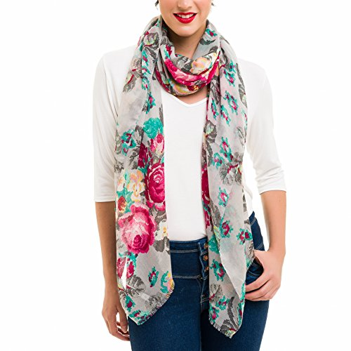 Scarf for Women Lightweight Floral Flower Fashion Fall Winter Scarves Shawl Wraps by Melifluos - Beautiful Scarf Floral