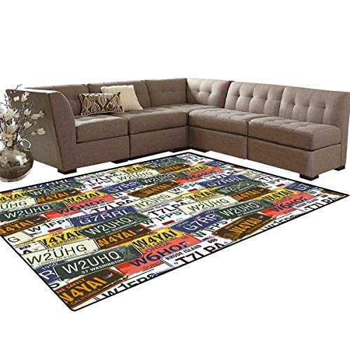 USA Room Home Bedroom Carpet Floor Mat Retro American Auto License Plates Utah Washington Rhode Island North Carolina Print Door Mats Area Rug 6'6
