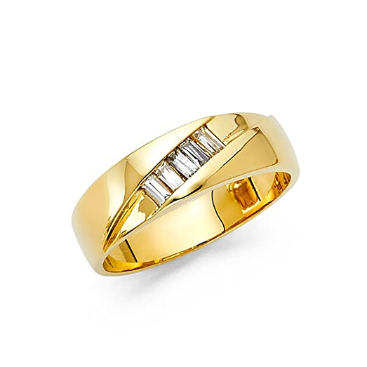 Solid 14k Yellow Gold Mens Engagement Ring Wedding Band Plain Baguette CZ Polished Finish Fancy Size