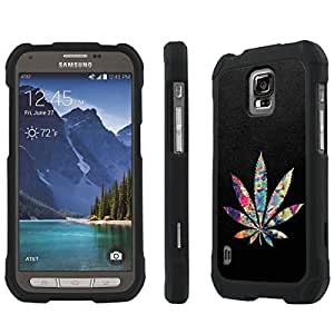 NakedShield AT&T Samsung Galaxy Active [ S5 ] (Color Weed) Total Hard Armor Purple LifeStyle Phone Case