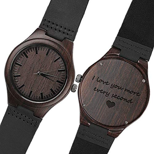 KOSTING Wood Watches for Men Black Leather Strap Wristwatches Genuine Leather Band with Gift Box - I Love You More Every Second - Personalized Gifts for Men Husband Gift by KOSTING