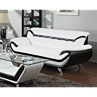 ACME Rozene White and Black Bonded Leather Sofa