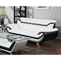 ACME Rozene White and Black Bonded Leather Sofa