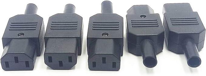 Black 3pin Socket 10A //250V IEC 320 C13 Female Plug Rewirable Power Connector F4