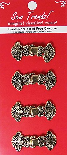 Chinese Frogs Button Closures Metal Hook & Eye Fastener - Sewing Quilting Renaissance Dance Hawaiian Bridal Costumes Outfit Drapery Home Decor-Antique Gold-Paisley Flower - Value 4 Pair/pk