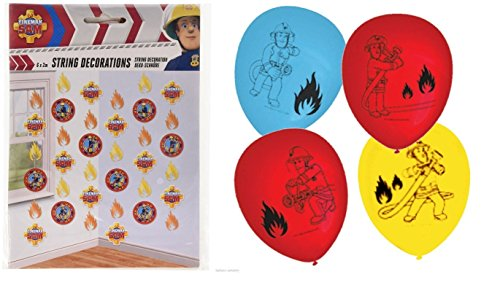 Fireman Sam Latex Balloons Pack Of 6 & String Decorations -
