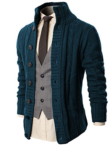 H2H Mens Fashion High Neck Twisted Knit Cardigan Sweater with Button Details DARKBLUE US S/Asia M (Detail Knit Cardigan)