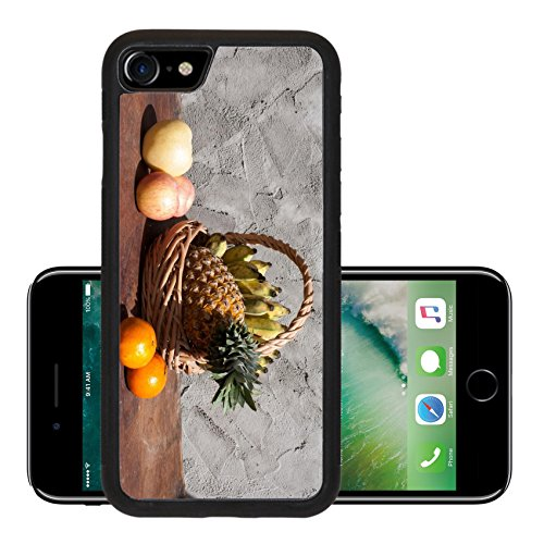 Liili Premium Apple iPhone 7 Aluminum Backplate Bumper Snap Case iPhone7 IMAGE ID: 24369791 Still life with Fruits and a basket on wooden table