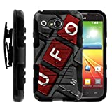 TurtleArmor | Compatible for LG Optimus L70 Case | LG Ultimate 2 Case | LG Exceed 2 [Hyper Shock] Hybrid Combo Armor Belt Clip Case Hard Shell Stand Alien and UFO Series - UFO Keyboard