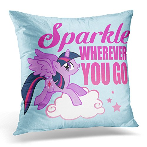 - TORASS Throw Pillow Cover Pink Unicorn Twilight Sparkle Wherever You Purple Pegasus Decorative Pillow Case Home Decor Square 20 x 20 Inch Pillowcase