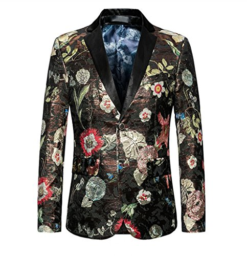 - WULFUL Men's Blazer Slim Fit Two Button Tuxedo Business Wedding Party Floral Suit Jacket