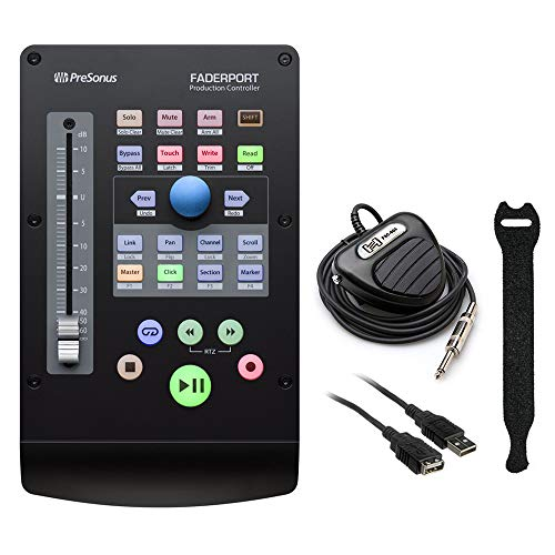 - PreSonus FaderPort Single-Fader USB Control Surface (2nd Gen) with Hosa FSC-604 Footswitch, Fastener Straps (10-pck) & USB Extension Cable (10') Bundle
