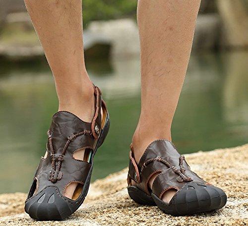 Sandali In Pelle Da Uomo Odema Outdoor In Pelle Con Punta Aperta Sui Sandali Da Pescatore Darkbrown