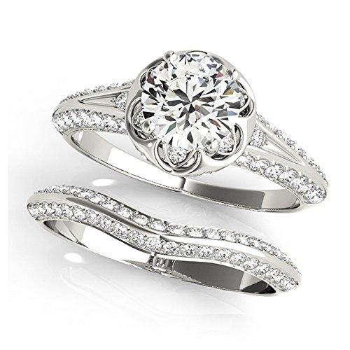 14K White Gold Unique Wedding Diamond Bridal Set Style MT51054