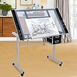 ZENY Glass Top Adjustable Drawing Desk Craft