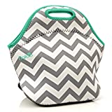 6 pack cooler neoprene - l'igloo Deluxe Neoprene Insulated Lunch Bag Extra Thick Lunch Box Tote Heavy Duty Zipper Use For Snacks, Baby Bottle Bag, Six Pack Bottle Carrier Cooler (Gray chevron/aqua trim)