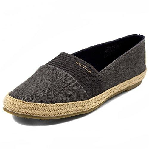 Nautica Women's Highsmith Espadrille Flat Casual Slip-On Shoe 7.5 Black