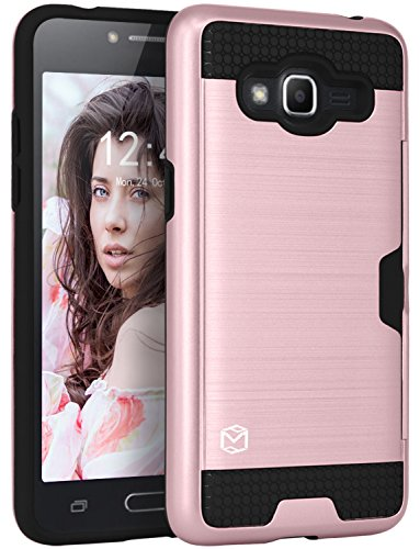Galaxy J2 Prime Case, Galaxy Grand Prime Plus Case, MP-MALL [Card Slot] Armor Hybrid Defender Shockproof Rugged Protective Cover Case For Samsung Galaxy J2 Prime / Grand Prime Plus (Rose - Mall Falls Grand
