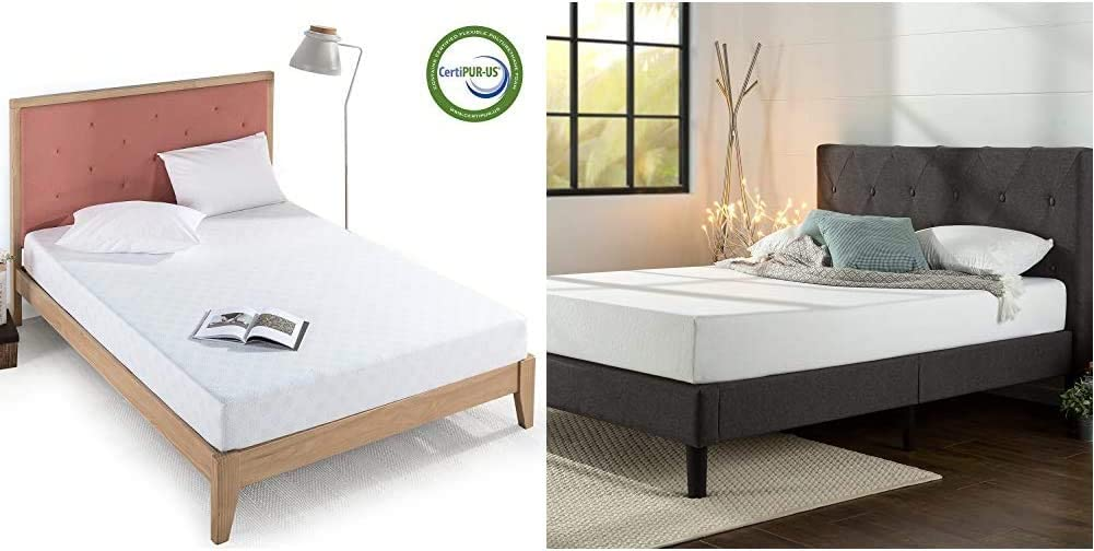 Zinus 8 Inch Gel-Infused Green Tea Memory Foam Mattress, Queen & Shalini Upholstered Diamond Stitched Platform Bed/Mattress Foundation/Easy Assembly/Strong Wood Slat Support/Dark Grey, Queen