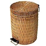 OPYTR-Papelera-Papelera-de-bambu-y-ratan-Estilo-Chino-Bote-de-Basura-Hogar-Sala-de-Estar-Dormitorio-Cocina-Papelera-con-Tapa-Galon-Color-Beige-tamano-8L