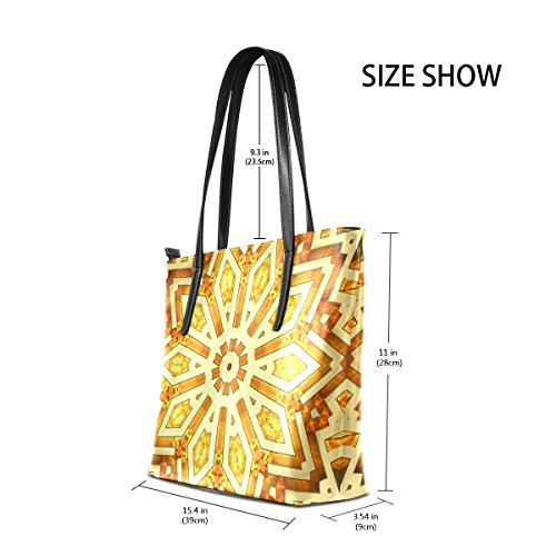 Women's Shoulder Totes Shiny Golden Fashion PU Leather Purses Top Kaleidoscope TIZORAX Handbag Bags Star Handle OPwqdxwR