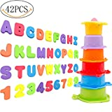 Yansion Toddler Stacking Cups Baby Foam Alphabet Letters for Bath Octopus Rain Early Educational Toy