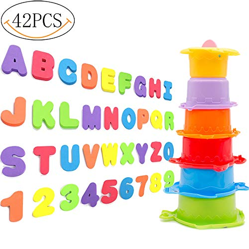 - Yansion Toddler Stacking Cups Baby Foam Alphabet Letters for Bath Octopus Rain Early Educational Toy