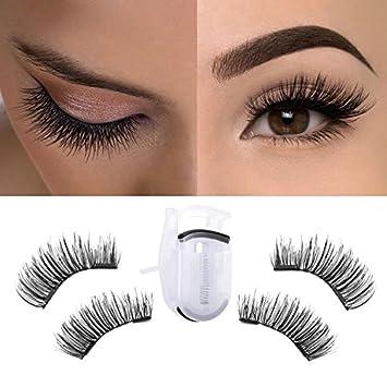 81305d1eeb9 Amazon.com : MeBueTee Dual Magnetic False Eyelashes 3D Fiber Reusable Natural  Wispy Lashes Fake Eyelash Extensions-Long Bushy Magnetic Handmade  Length:12MM ...