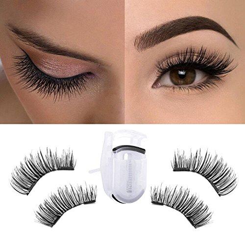1b57ecc8f27 MeBueTee Dual Magnetic False Eyelashes 3D Fiber Reusable Natural Wispy  Lashes Fake Eyelash Extensions-Long