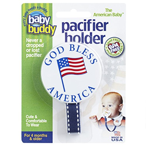 Baby Buddy American Baby Pacifier Holder. Styles may vary from US Flag, I Love USA, God Bless America - Flag Pacifier