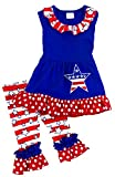 Angeline Girls July 4th Independence Day Star Spangled Banner Ruffle Capri Set 3T/M