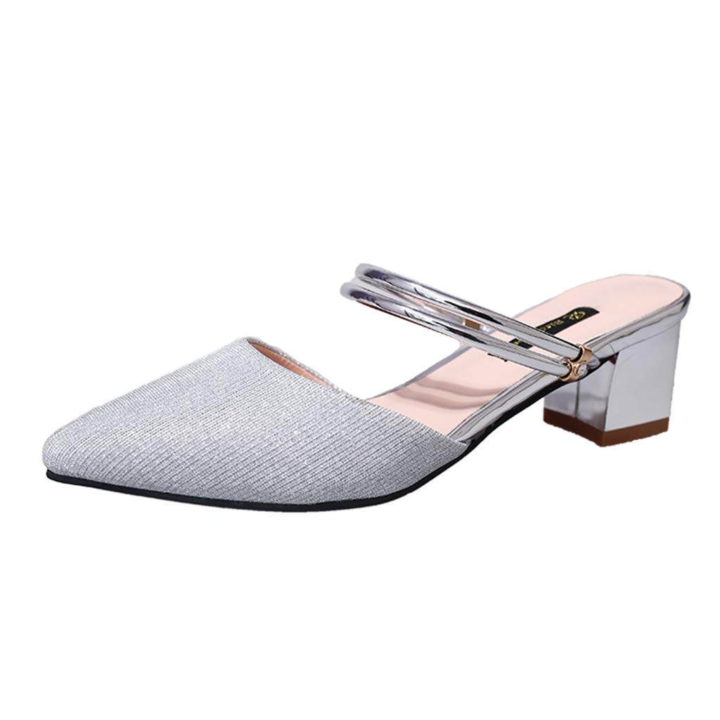 Summer Sandals for Women, ❤️ FAPIZI Pointed Toe Slingback Shoes Low Heels Casual Ankle Strap Strappy Party Sandals Silver by FAPIZI Women Shoes
