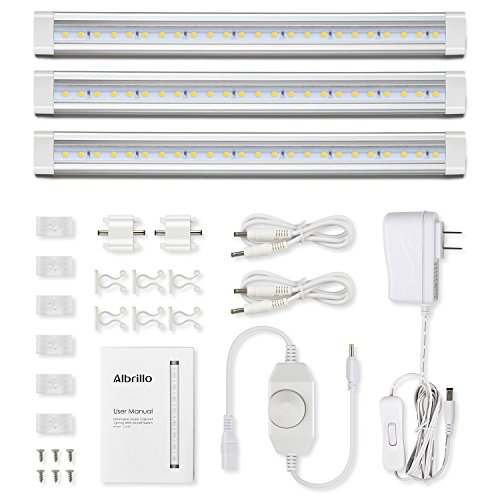 Albrillo Under Cabinet LED Lighting, Dimmable Under Counter Kitchen Lighting, 12W 900lm, soft White 3000K, Pack of 3