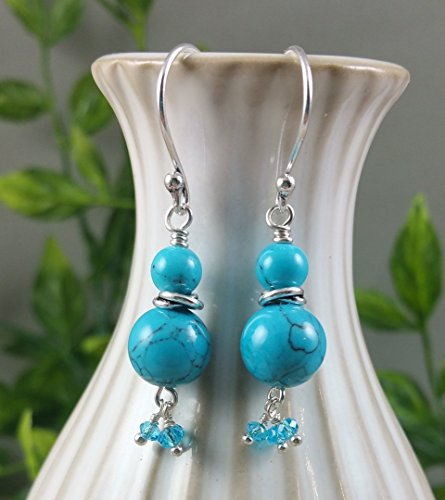 Howlite Turquoise Blue Gemstone Sterling Silver Earrings with Faceted Crystal Dangle Fringe Blue Turquoise Howlite Gem