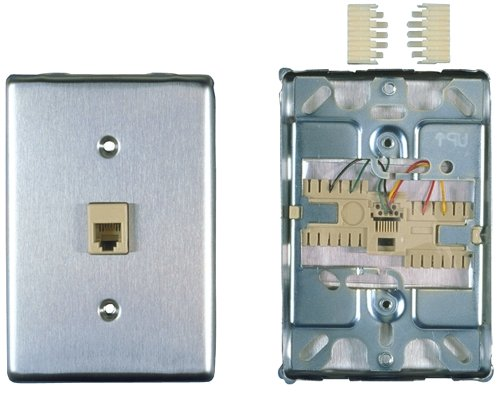 - Allen Tel Products AT630BNL-4 Single Gang, 1 Port, 6 Position, 4 Conductor, Modular Jack Assembly Wall Telephone Outlet Jack, Stainless Steel