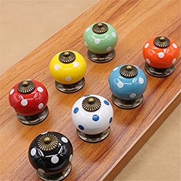 Vintage Dot Round Ceramics Drawer Knob Cabinet Pull Handle Cupboard Door Handle Buckdirect Worldwide Ltd.